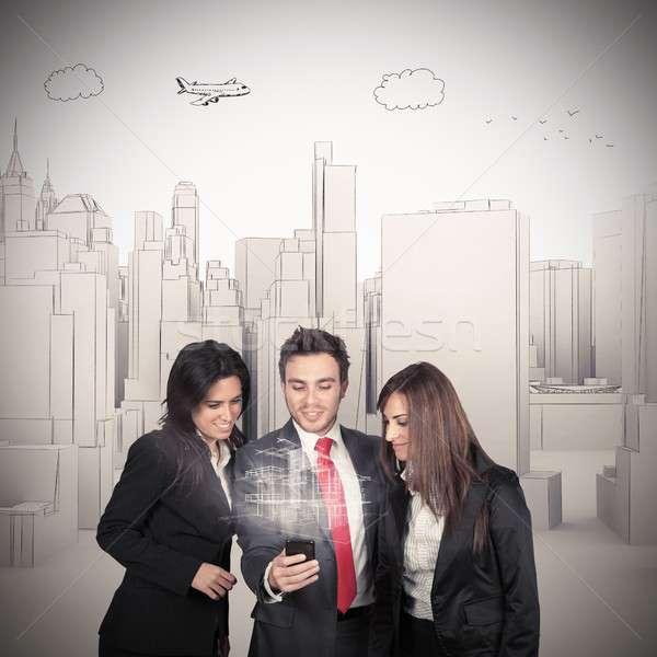 投影 建物 マネージャ ビジネス 女性 電話 ストックフォト © alphaspirit