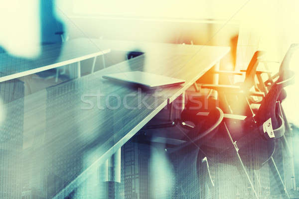 Abstract business background with meeting room. Double exposure Stock photo © alphaspirit