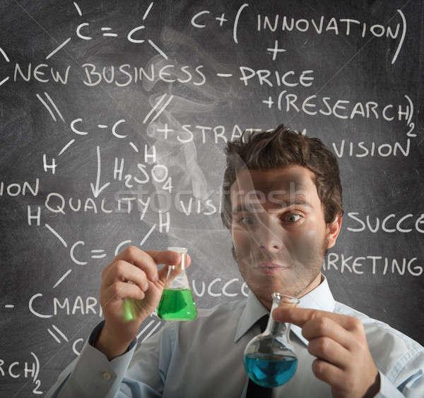 Nieuwe business formule chemische zakenman geneeskunde Stockfoto © alphaspirit