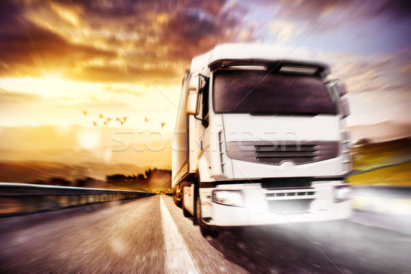 Fast transport truck. Mixed media Stock photo © alphaspirit
