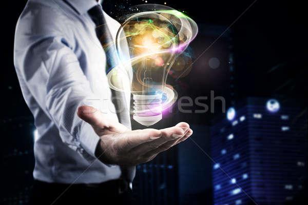 Iş parlak fikir işadamı el büyük Stok fotoğraf © alphaspirit