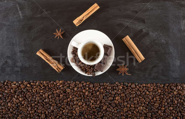 Background of cup coffee beans with cinnamon and anise Stock photo © alphaspirit