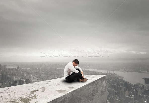 Tek başına umutsuz işadamı yalnızlık başarısızlık çatı Stok fotoğraf © alphaspirit
