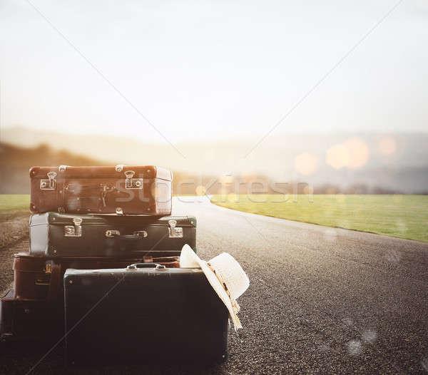 Камера асфальт дороги закат небе Сток-фото © alphaspirit