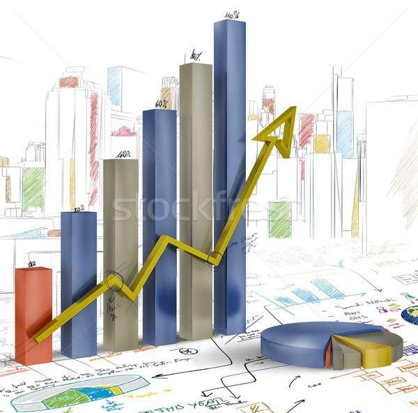 Tanıtım proje istatistik grafikler iş finanse Stok fotoğraf © alphaspirit