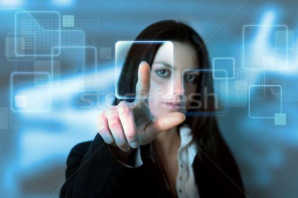 Dokunmatik ekran arayüz sanal el anahtar ekran Stok fotoğraf © alphaspirit