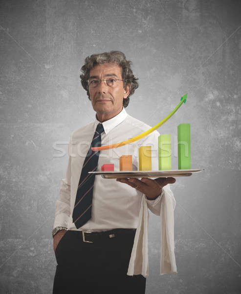 Biznesmen pozytywny statystyka taca działalności zielone Zdjęcia stock © alphaspirit