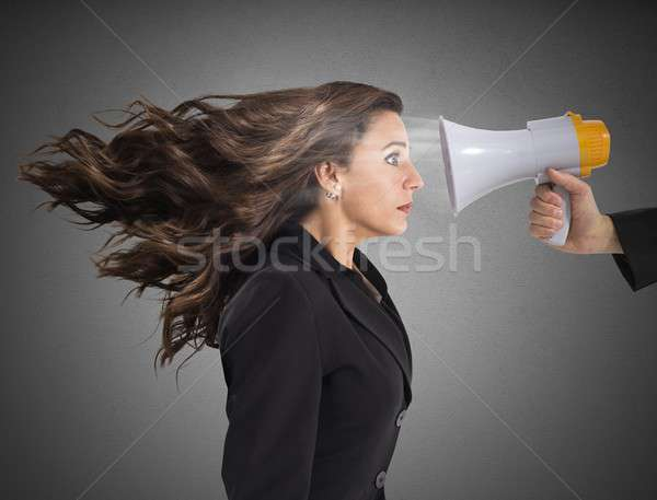 Businesswoman frightened by reproach Stock photo © alphaspirit