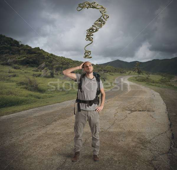 Lost explorer in mountain path Stock photo © alphaspirit