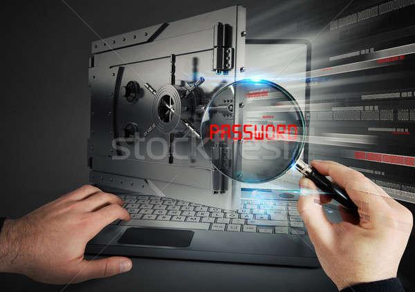 Secure banking on laptop Stock photo © alphaspirit