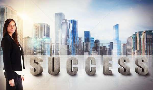 Businesswoman success view Stock photo © alphaspirit