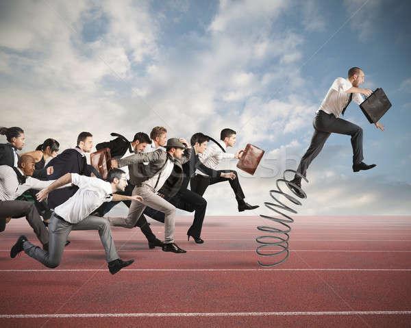 Sukces biznesmen skoki wiosną wyścigu działalności Zdjęcia stock © alphaspirit