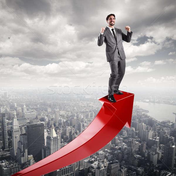 ビジネスマン 経済の 成功 赤 矢印 男 ストックフォト © alphaspirit
