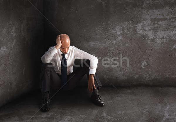 Egyedül kétségbeesett üzletember magány kudarc padló Stock fotó © alphaspirit