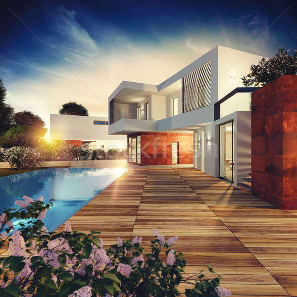 Luxe villa projet 3D externe Photo stock © alphaspirit