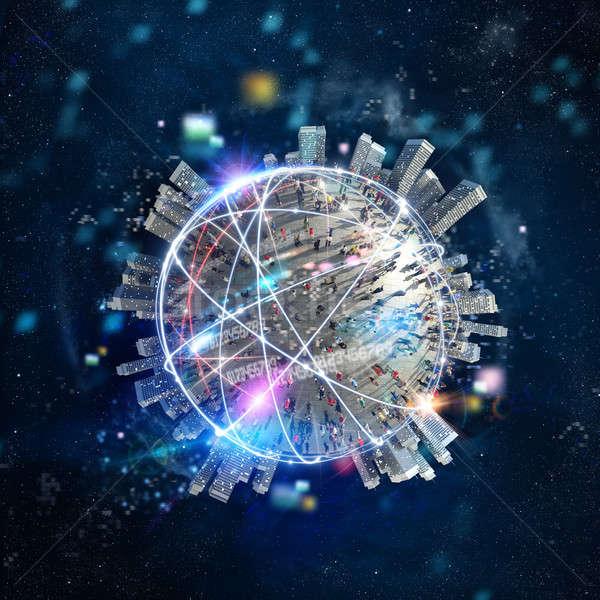 Hızlı Internet dünya çapında bağlantı optik lif Stok fotoğraf © alphaspirit