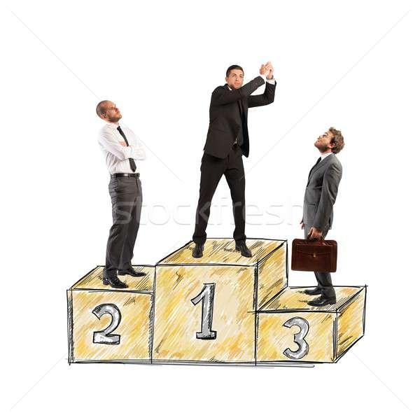 Successo podio uomini d'affari invidiare imprenditore lavoro Foto d'archivio © alphaspirit