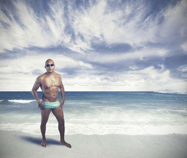 黒人男性 熱帯ビーチ ビーチ 空 男 光 ストックフォト © alphaspirit
