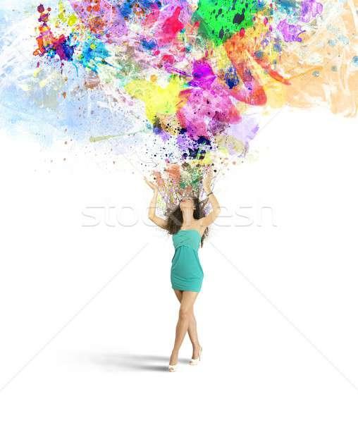 Moda kreatywność wybuchu twórczej dziewczyna wody Zdjęcia stock © alphaspirit