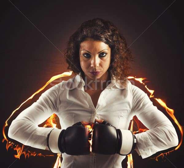 определенный деловая женщина боксерские перчатки женщину девушки работу Сток-фото © alphaspirit