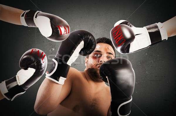 Stockfoto: Is · mislukt · bokser · zakenman · bange · man · business