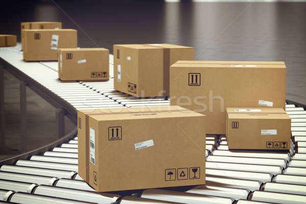 Box on conveyor roller. 3D Rendering Stock photo © alphaspirit
