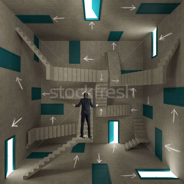 Verward zakenman kamer vol deuren trap Stockfoto © alphaspirit