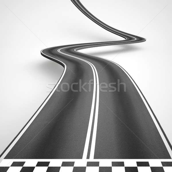Uphill and winding road from start to finish. 3D Rendering Stock photo © alphaspirit