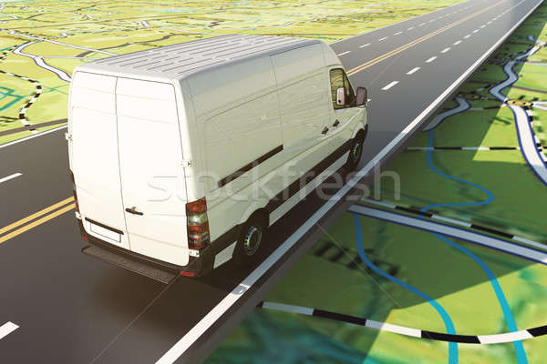 Delivery van runs along the highway on a road map. 3D Rendering Stock photo © alphaspirit