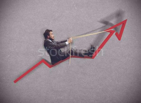 рост экономики бизнесмен менеджера стрелка победителем Сток-фото © alphaspirit