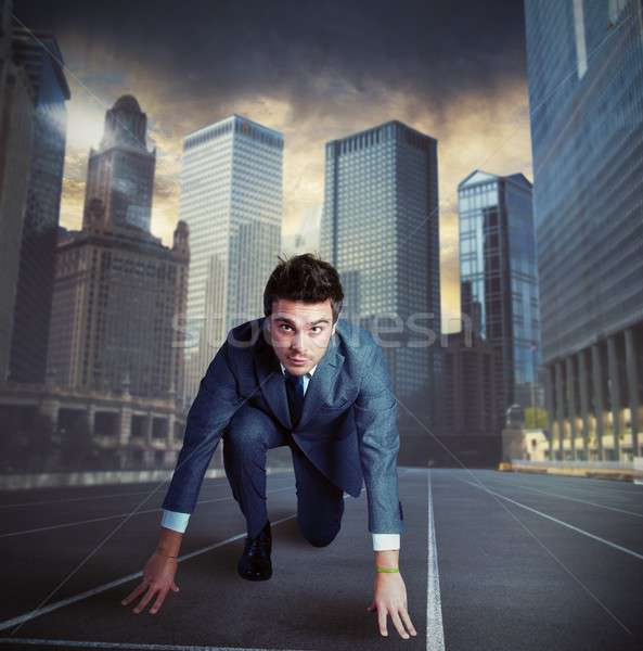 Businessman fierce ready for a new challenge Stock photo © alphaspirit