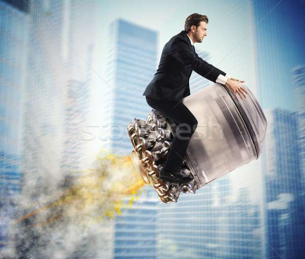 Urban businessman fly high Stock photo © alphaspirit