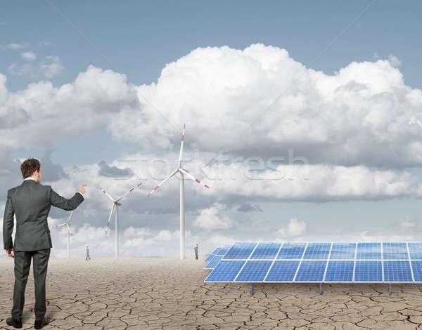 Affaires renouvelable travail ciel nature industrie Photo stock © alphaspirit