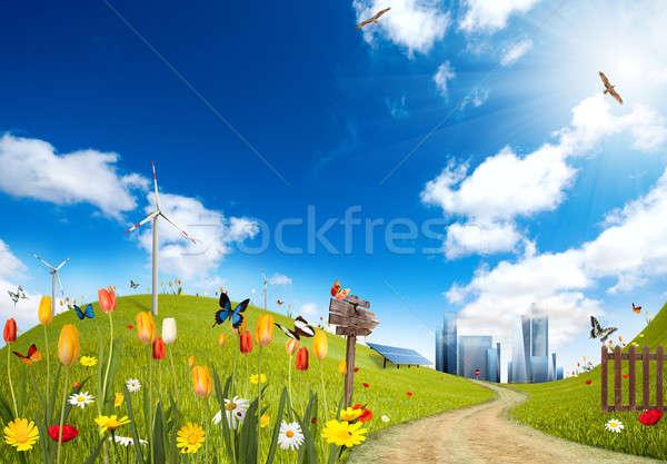 экологический город ветровой турбины небе цветок Сток-фото © alphaspirit
