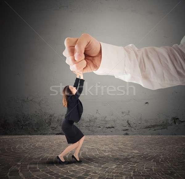 Violento patrão pequeno empresária grande mulher Foto stock © alphaspirit