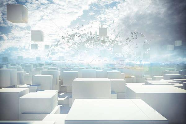 Futuristic city 3d rendering Stock photo © alphaspirit