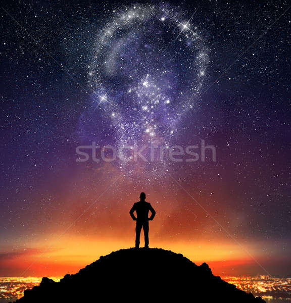 Empresario iluminado brillante idea grande cielo Foto stock © alphaspirit