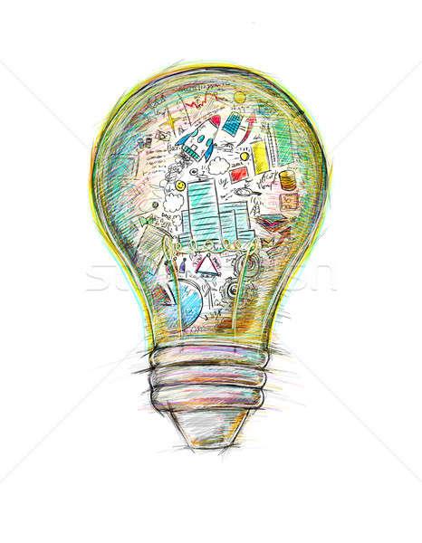 Yaratıcı iş fikir ampul renkli Stok fotoğraf © alphaspirit