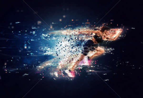 Athletic woman fast runner with futuristic effects Stock photo © alphaspirit