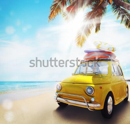 Kezdet nyáridő vakáció régi autó tengerpart 3D Stock fotó © alphaspirit