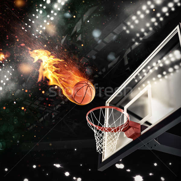 Fiery ball goes fast to the basket Stock photo © alphaspirit