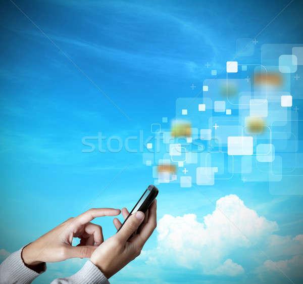 Modern touch screen mobile phone Stock photo © alphaspirit