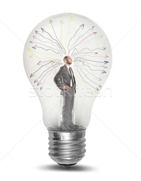 Dahi işadamı ampul beyin enerji düşünme Stok fotoğraf © alphaspirit