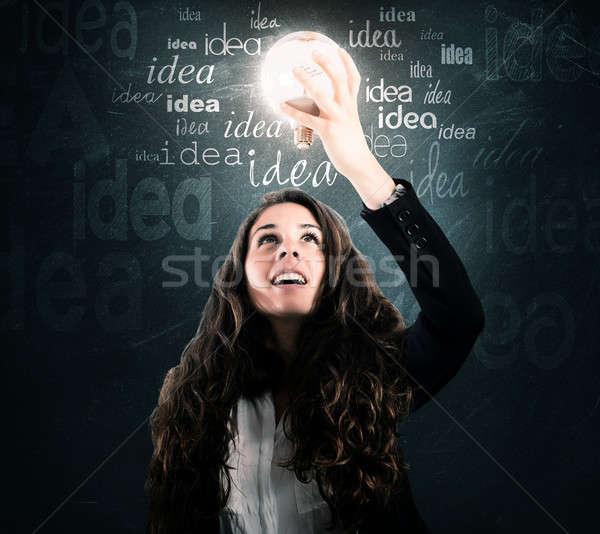 Parlak fikir kadın ampul ışık Stok fotoğraf © alphaspirit