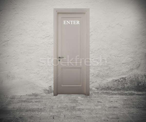Eintrag Tür geschrieben weiß Wand Erfolg Stock foto © alphaspirit