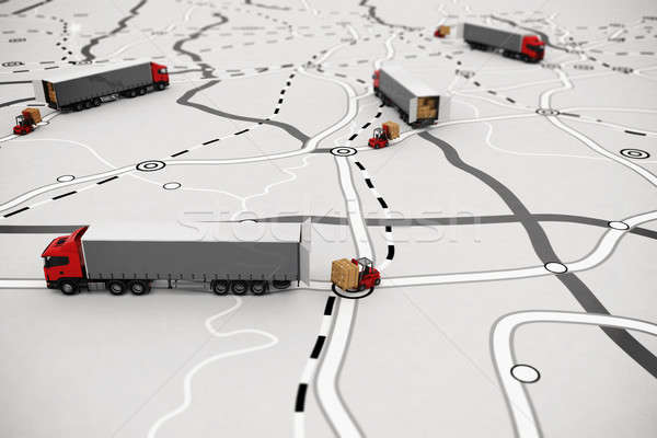 Loading and unloading goods on a map. 3D Rendering Stock photo © alphaspirit