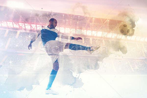 футболист стадион играть аудитории трава человека Сток-фото © alphaspirit