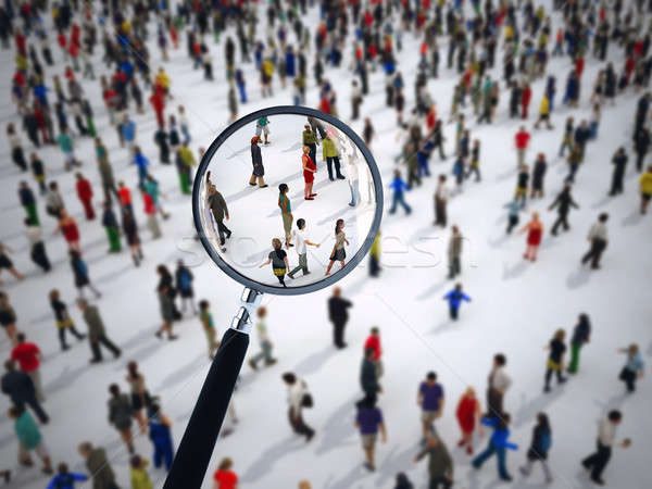 Magnifying glass on a large group of people. 3D Rendering Stock photo © alphaspirit