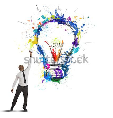 Brainstorming concept with businessmen that indicate an a lamp. Concept of idea and company startup Stock photo © alphaspirit