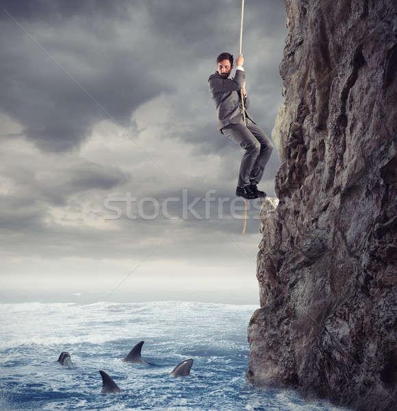 Biznesmen spadek morza problemy trudność Zdjęcia stock © alphaspirit